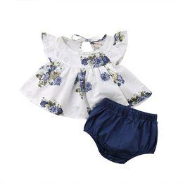 Ins Newborn Infant Toddler Baby Girls floral Tops Vestido de la flor Pantalones cortos del harem Pantalones Ropa Trajes 2colors elige la nave libre desde fabricantes