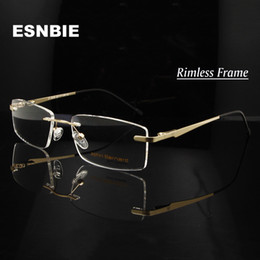 a6bbbbd0c50 ESNBIE Alloy Gold Men S Rimless Eyeglasses Frame Men Women Myopia Optical  Frame Metal Square Eyewear Prescription Glass