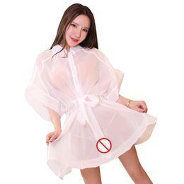 Sem malha lingerie grátis on-line-Frete Grátis Nova lingerie sexy cosplay malha branca lingerie sexy tamanho grande casa camisola princesa robe perspectiva tentação rainha sexy