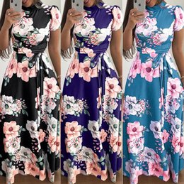 lässige sommer maxi kleid chiffon Rabatt Cross-border Hot Style Frühling und Sommer neue europäische und amerikanische beiläufige gedruckte Spitzenkleid Kurzarm Kleid Kleid
