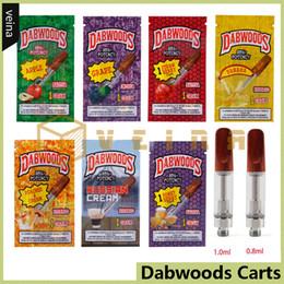 DabWoods DabWood Carts 1.0ml 0.8ml Cartuchos de vapor de bobina de cerámica Vaporizador de punta de boca de madera Atomizador para aceite grueso con bolsa de embalaje de sabor desde fabricantes