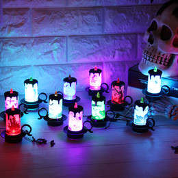 Decorar lampara led online-Adorno de escritorio a la luz de las velas Creativo LED Electronics Cup Give Out Light Lamp Halloween Decorate Prop Factory Venta directa 3 2nh p1
