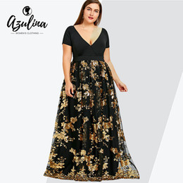 Rosegal plus size floral lantejoulas maxi dress mulheres v profundo neck manga curta senhoras vestidos elegante evening party dress vestidos t5190613 de