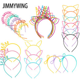 plastic hair crown Promo Codes - Party Supplies Girls's Cat Ears Headbands Crown Tiara Princess Plastic Animal Hair Band Butterfly Bow Hoop Accessories Headwear
