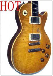 Flamme de guitare verte en Ligne-Personnalisé Vintage 1959 Gary Moore Peter Guitare Vert Standard Greenie Greeny, Relique Top Maple Guitare Électrique Une pièce corps Tribute Aged