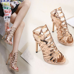 e59c11048f7 2019 Sexy Gold Sandals In Stock Summer High Heel Striped Buckle Open Toe  Women Designer Shoes