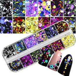 Lentejuelas rhinestones online-Nueva Moda Mixta Uñas Lentejuelas Glitter Ronda Nail Paillette Nail Art Tip Decoración Manicura Nuevo Rhinestones / Ornamento