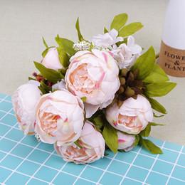Confezione da 50 pezzi 10 colori 12 teste fiore artificiale peonia europea peonia seta peonia cespuglio peonia fiore di seta prezzo all'ingrosso da cespuglio di fiori di seta all'ingrosso fornitori