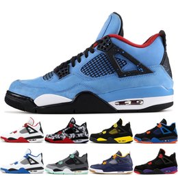 6631408bc06f Tattoo 4 4s Men Basketball Shoes Designer Sneakers Cactus Jack Black Cat  Bred White Cement Pure Money Sports Shoes US 7-13