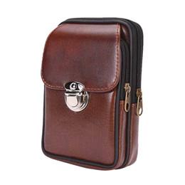 Кожаные чехлы для сотовых телефонов онлайн-Мужчины ретро PU кожаный пояс сумка двойной молнии износостойкие талии сумка кошелек сотовый телефон пояс сумка
