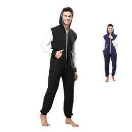 Sudaderas pijamas adulto online-Centuryestar Pijamas Hoodies Pijamas de invierno Trajes generales Ropa de dormir de color sólido con cremallera Pijama con capucha Juegos para adultos Hombres