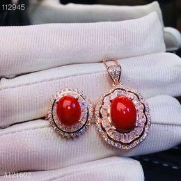 93419adba6b0 KJJEAXCMY joyería exquisita 925 con incrustaciones de plata Collar de  anillo de coral rojo rubí natural conjunto Detección de soporte