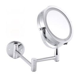 регулируемое крепление кронштейна Скидка Светодиодное зеркало для макияжа Зеркало для ванной Настенное регулируемое зеркало для макияжа Dual Arm Расширяет 2-гранное косметическое зеркало с подсветкой