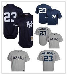9eb70460b custom 2019 Men s Yankees 23 Don Mattingly New York Gray Road Cool Base  Cooperstown Collection Player women kids Jersey