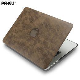 2019 cassa superiore per macbook Custodia rigida in plastica portatile superiore di cuoio PFHEU, PU + per MacBook Air Pro Retina 11 12 13 15 pollici con il tocco Bar New A1706 A1707 A1708 sconti cassa superiore per macbook