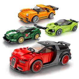 Intelligence enfants blocs de construction la combinaison de la voiture la course de course heureux jouets pour enfants petites particules haute assemblage compatible c ? partir de fabricateur