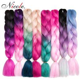 colores kanekalon Rebajas Nicole pelo Ombre tres colores sintético de expresión que trenzan 24inches 100g / pack Jumbo Trenzas Kanekalon Hair Braiding ganchillo trenzas