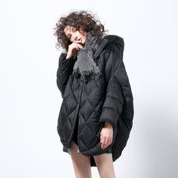 золотые пуховики Скидка Winter fashion brand gold brown cloak style white  down coat female oversize longer fur fluffy warm down parkas wq738