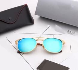 Wayfarer espelho óculos de sol homem on-line-54 MM 3429 lentes de vidro wayfarers óculos de sol raias das mulheres dos homens da marca cat eye óculos de sol bandas ben espelho gafas de sol com casos