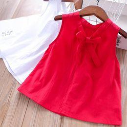 2019 camicetta rossa in pizzo Bambini camicetta ragazze allacciate fiocchi cravatta con scollo a V magliette bambini all-matching camicia principessa 2019 estate nuovi bambini vestiti bianco rosso F5697 camicetta rossa in pizzo economici