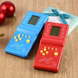 Klasik Tetris El LCD Elektronik Oyun Oyuncaklar Eğlenceli Tuğla Oyunu Riddle El Oyun Konsolu Rastgele renk nereden lcd pmp tedarikçiler