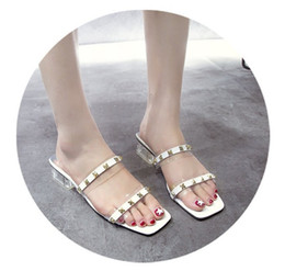 factory shoes sandals Coupons - Women Designer Sandals Womens Flip Flop Open Shoes Rivet Heel Transparent Style Manufacturer Factory Free Shipping Hot New Arrival Fashion