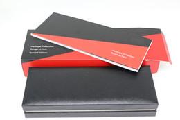 rote rollen Rabatt Luxus Design schwarz Holzrahmen Stift Box für mb Füllfederhalter / Kugelschreiber / Roller Kugelschreiber Federmäppchen mit schwarzer und roter Farbe Handbuch