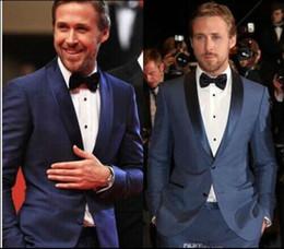 calças extravagantes Desconto Lago Azul Xale Lapela dos homens Dois Botões de Casamento Fantasia Ternos Duas Peças (Jacket + Pant) Formal Desgaste Banquete Com Excelente Tecido
