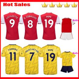 Kit david online-TIERNEY 2019 2020 camisetas de fútbol 19 20 HENRY Local rojo visitante amarillo camiseta de fútbol kit para niños DAVID LUIZ Camiseta de fútbol maillot de foot