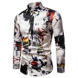 modelli camicia casual Sconti 2019 Nuovo modello Camicie Graffiti Casual Camicetta a maniche lunghe Uomo Abbigliamento Camicia hawaiana slim fit uomo moda