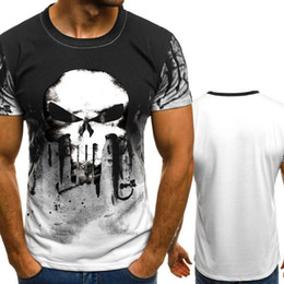 various colors on sale outlet store New Men s Short Sleeve T-Shirt Punisher Skull Clothes Print Sports Fitness  Clothes T-Shirt