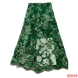 Ultimo tessuto di pizzo verde ricamato floreale pizzo di tulle francese di alta qualità 5 iarde abito da sposa africano pizzo a rete X2040 da