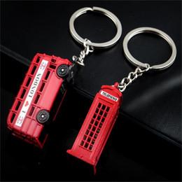 Colgantes de londres online-London Red Bus Key organizador de la cabina de teléfono Key Holder Key Colgante Llavero Regalos de recuerdo llavero R346