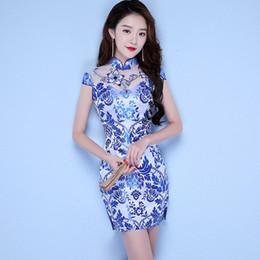 Weiße spitze cheongsam kleider online-Chinesisches traditionelles Kleid Frauen Lace Patchwork Abend Party Kleid Oversize 3XL blau und weiß Porzellan Print Qipao Cheongsam