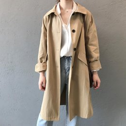Cappotto di trincea diritta online-2020 Trench Spring Coat per le donne Streetwear Collare di svolta Single Breasted Cotton Straight Cotton Cappotti