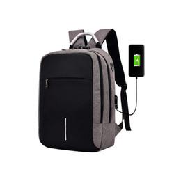 Laptop bag caso mulher on-line-Laptop Case Bag Mochila Com USB Carregamento Escola Notebook Bag Homens Mulheres Oxford Mochila À Prova D 'Água