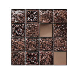Vinile adesivo di mosaico online-qualità friendly10PCS eco Tile adesivi DIY 3D mosaico Auto Wall Paper colla per piastrelle 10X10C vinile Home Kitchen Decoration