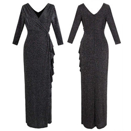 386a3a9151aa Angel-fashions Women V Neck Draping Ruffle 3 4 Sleeves Long Pencil Split  Party Gown Evening Dress Black 445