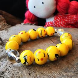 emoji armbänder Rabatt Cartoon lustige Keramik Emoji Perlen Armband Lächeln Gesicht Armbänder Armreif Schmuck niedlichen Cartoon Handschlaufe