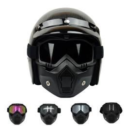 cascos modulares Rebajas Nueva máscara modular desmontable VCOROS y filtro bucal perfecto para los cascos de motocicleta vintage de cara abierta máscara Coolplay
