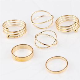 Anillo de dedos caliente online-Hot new 6 unids / set Gold Ring Set Combine Joint Ring Ring Band Ring Toes Anillos para Mujeres Joyería de Moda WCW168