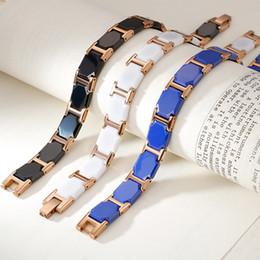 2019 platin überzogene armband smaragde Rose Gold Edelstahl Gesunde Magnet Armband Männer 11 MM Breite Herren Armbänder luxus Weiß / Schwarz Keramik Armbänder Für Frauen