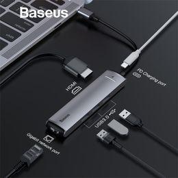 Adaptateur usb hub rj45 en Ligne-Adaptateur HUB Baseus 6 en 1 USB Type C à USB 3.0 HDMI RJ45 pour MacBook Pro HUB Répartiteur USB pour accessoire Matebook