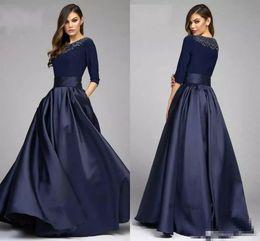 Длинные рукава вышитый бисером карманы платья онлайн-Vintage Navy A Line Half Sleeve дизайнер мать невесты жениха платья из бисера Атлас с карманами длинные вечерние вечерние платья на заказ
