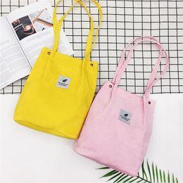ef7f3f654695 Designer Women Reusable Corduroy Canvas Tote Ladies Casual Shoulder Bag  Foldable Shopping Bags Beach Bag Female Cotton Cloth Handbag