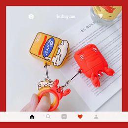 Argentina Moda Lindo 3D Cerveza Cangrejo Llavero Auriculares Casos Para Apple Airpods 2 Auriculares Protegen la Cubierta con el Anillo de Dedo Correa Llavero supplier earphone cute case Suministro