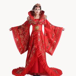 roter königinkragen Rabatt Qualitativ hochwertige rote Frauen stehen Kragen edlen Draggle-Tail Dress Königin der Tang-Dynastie Kleidung chinesischen alten Kostüms
