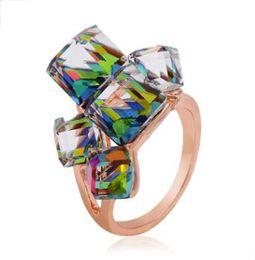 fábrica de casamento de cristal Desconto Chegada nova Anéis De Casamento para As Mulheres de Cristal De Ouro de Luxo Anéis de Strass Anéis De Diamante para a Festa de Venda Direta Da Fábrica