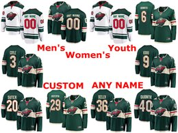 maillot de hockey ryan suter Promotion Maillots sauvages du Minnesota Maillots Greg Pateryn Nick Seeler Ryan Suter Devan Dubnyk Chandails de hockey blancs verts sur mesure, cousus