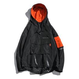 0227fd492ea Front Pocket Pullover Jackets Men 2018 Autumn Half Zipper Hoodie Jacket  Male Hip Hop Casual Windbreaker Coat Streetwear